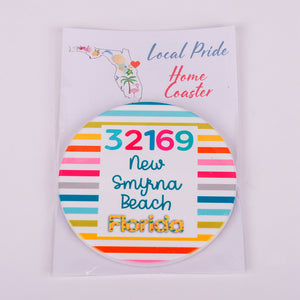 Round Sandstone home coaster with zip code 32169 new smyrna beach florida