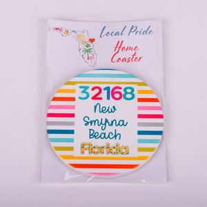 Round Sandstone home coaster with zip code 32168 new smyrna beach florida