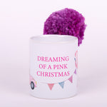 11 ounce white ceramic mug with words Dreaming of Pink Christmas with Flamingo Santa Hat and Pink VW Bug