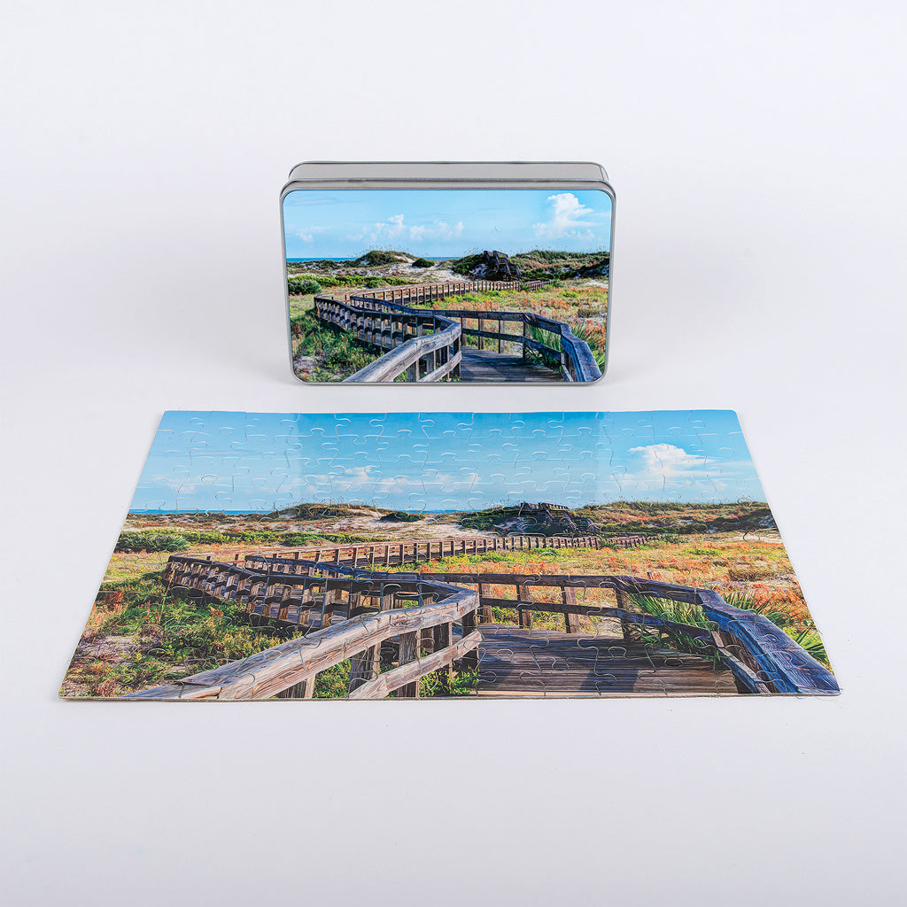 Smyrna Dunes Park image on a glossy puzzle with 130 pieces.
