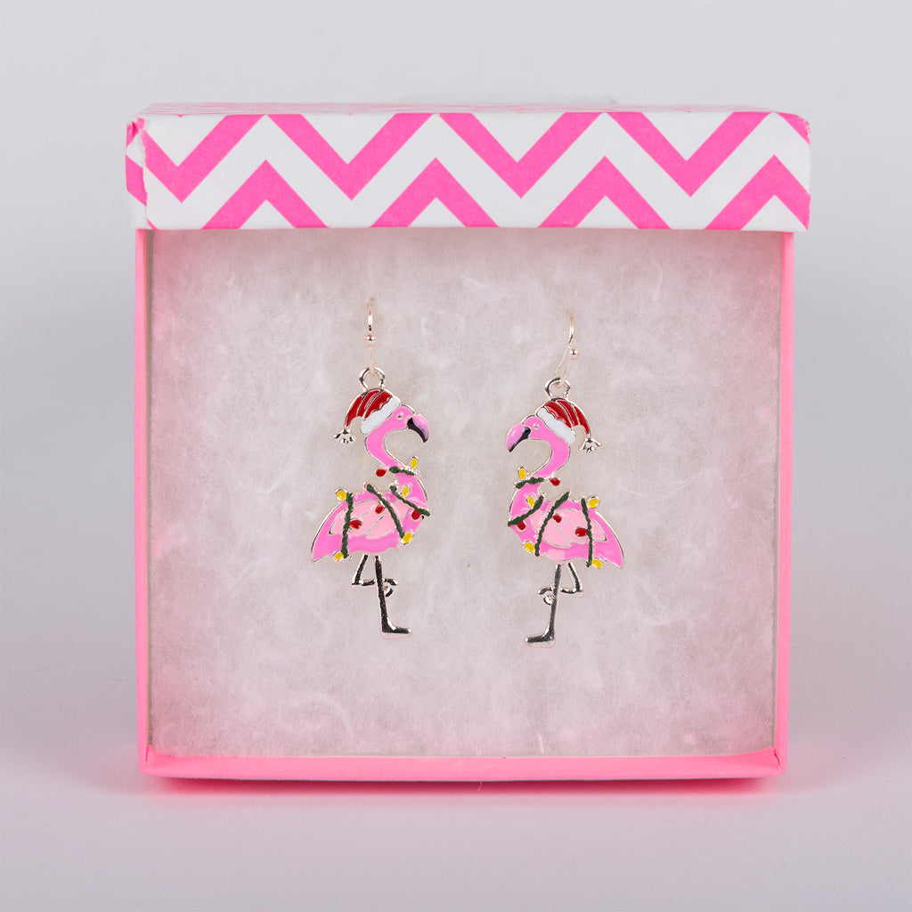 Pink Flamingo Earrings with Santa Hat and Christmas Lights.