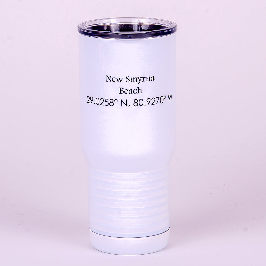20 ounce polar camel white stainless steel tumbler with New Smyrna Beach and LAT and LONG on back of NSB tumbler