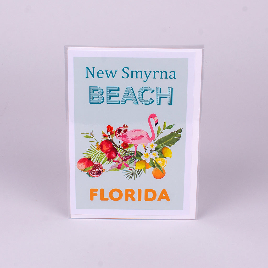 Flamingo Notecard with location New Smyrna Beach, Florida