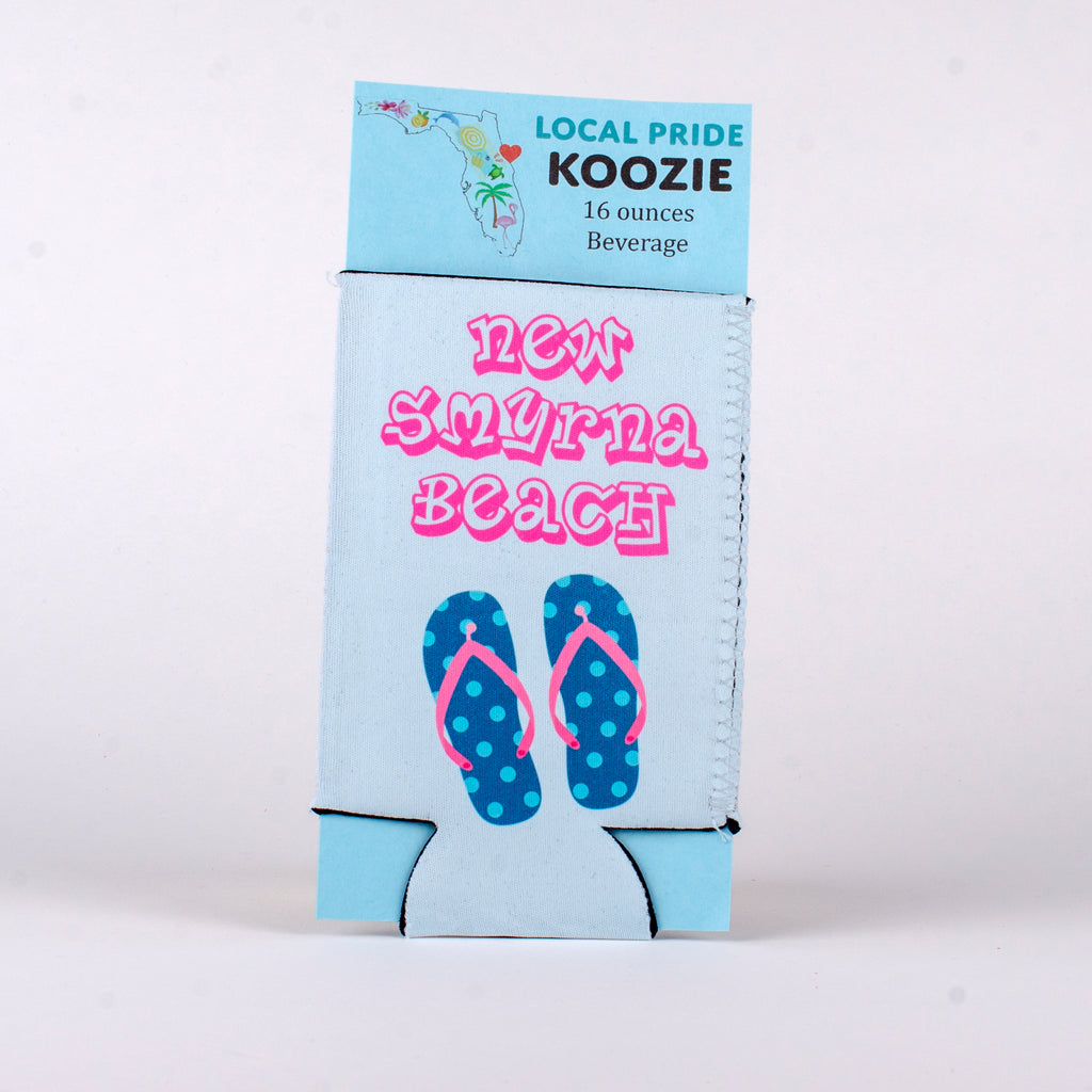 16 ounce scuba foam koozie with New Smyrna Beach and Flip Flops