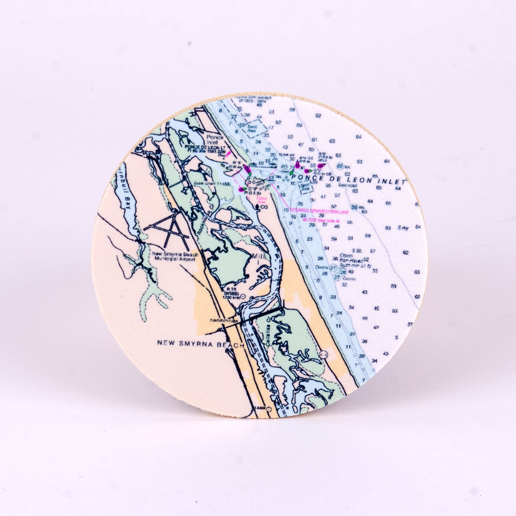 "4"" New Smyrna Beach Nautical Chart Rubber Home Coasters"