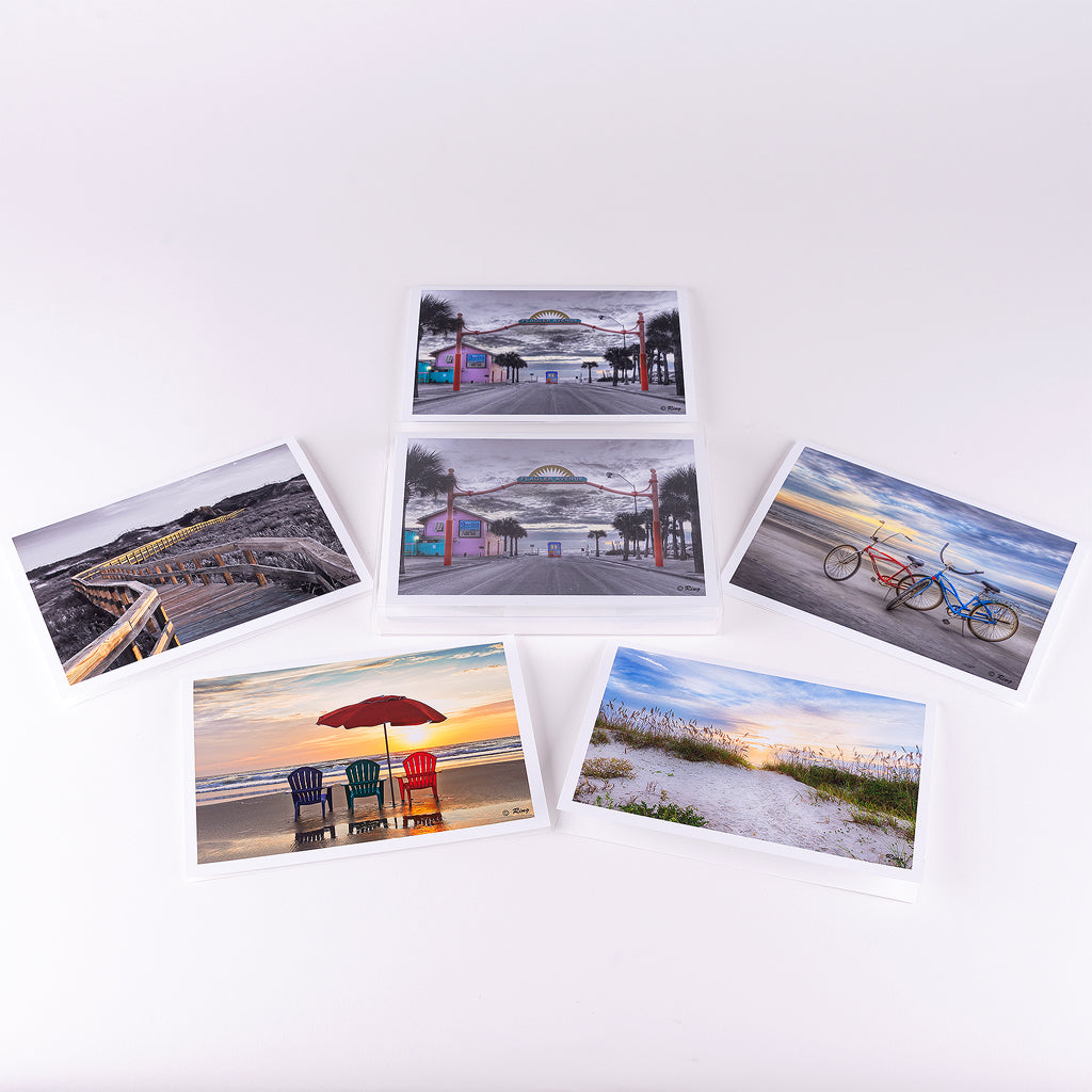 Assortment of Photographic New Smyrna Beach notecards (box of 10).