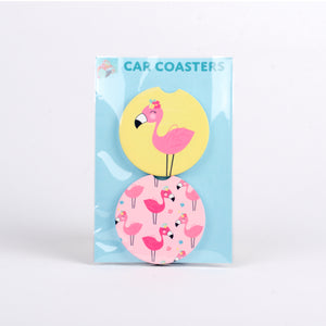 Set of 2 sandstone car coasters with Pink Flamingos