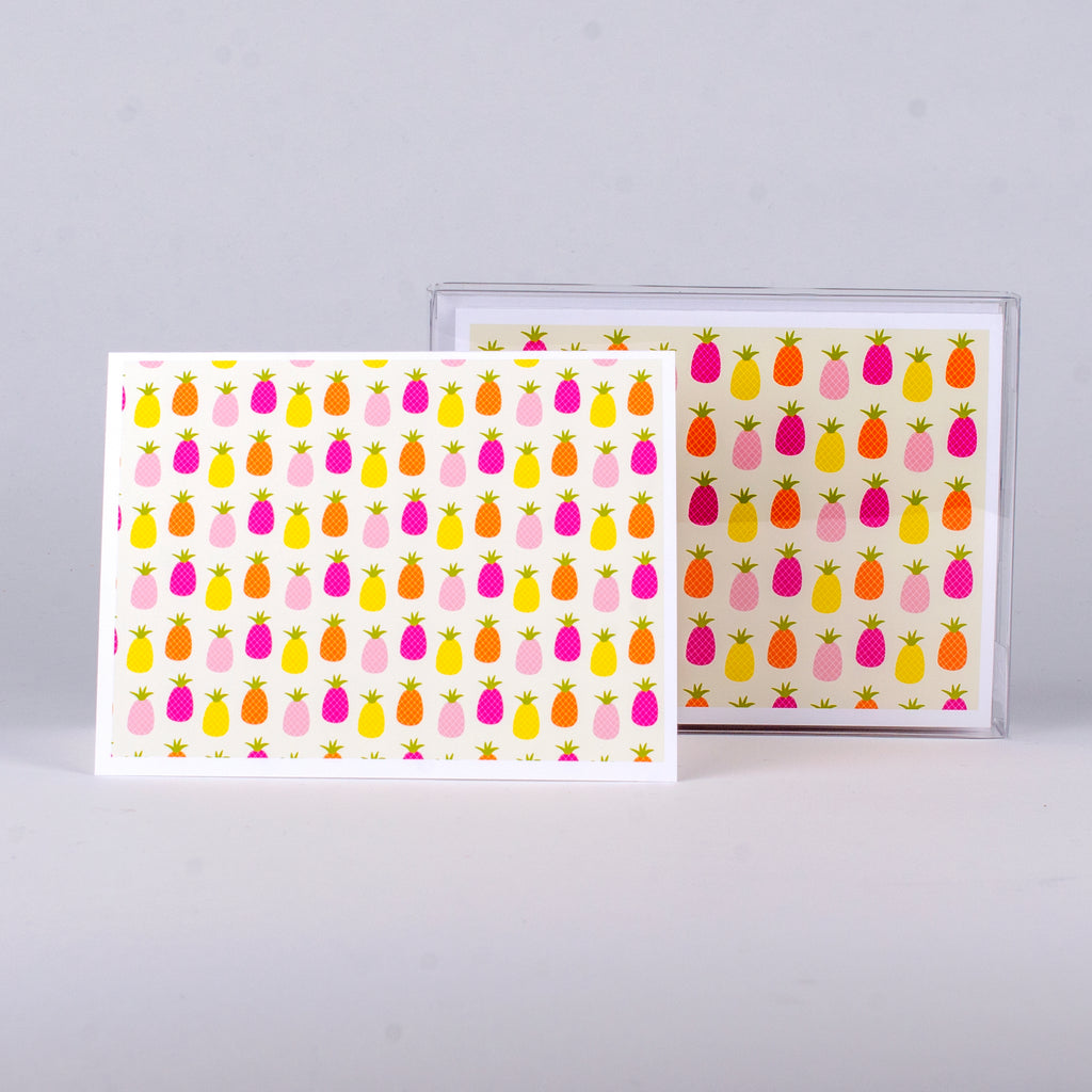 "Set of 5 notecards and envelopes on front-Pastel Pineapple Collage (4""x5.25"")"