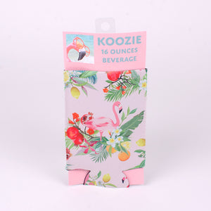 16 ounce Koozie (Image: Pink Flamingo with Tropical Flowers)