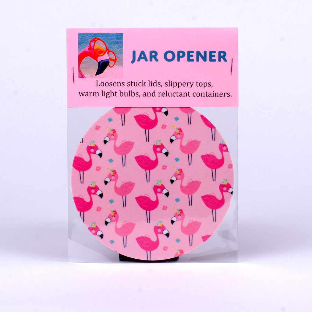 Rubber Jar Opener with Pink Flamingos