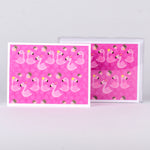 "Set of 5 notecards and envelopes on front-Pink Flamingos (4""x5.25"")"