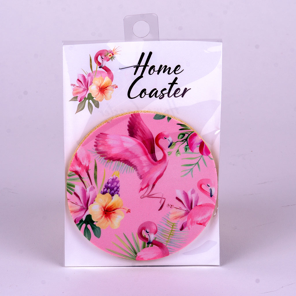 "4"" Pink Flamingo Rubber Home Coaster"