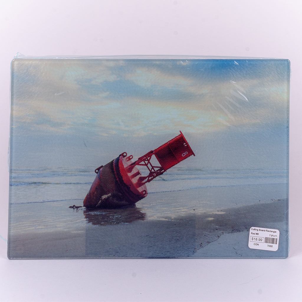 Small Glass rectangle cutting board with Red #8 in New Smyrna Beach (11.25x8)