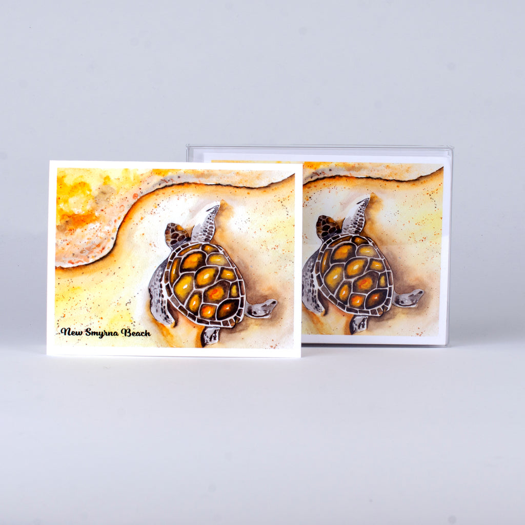 "Set of 5 notecards and envelopes on front-Sea Turtle on the Beach with New Smyrna Beach (4""x5.25"")"