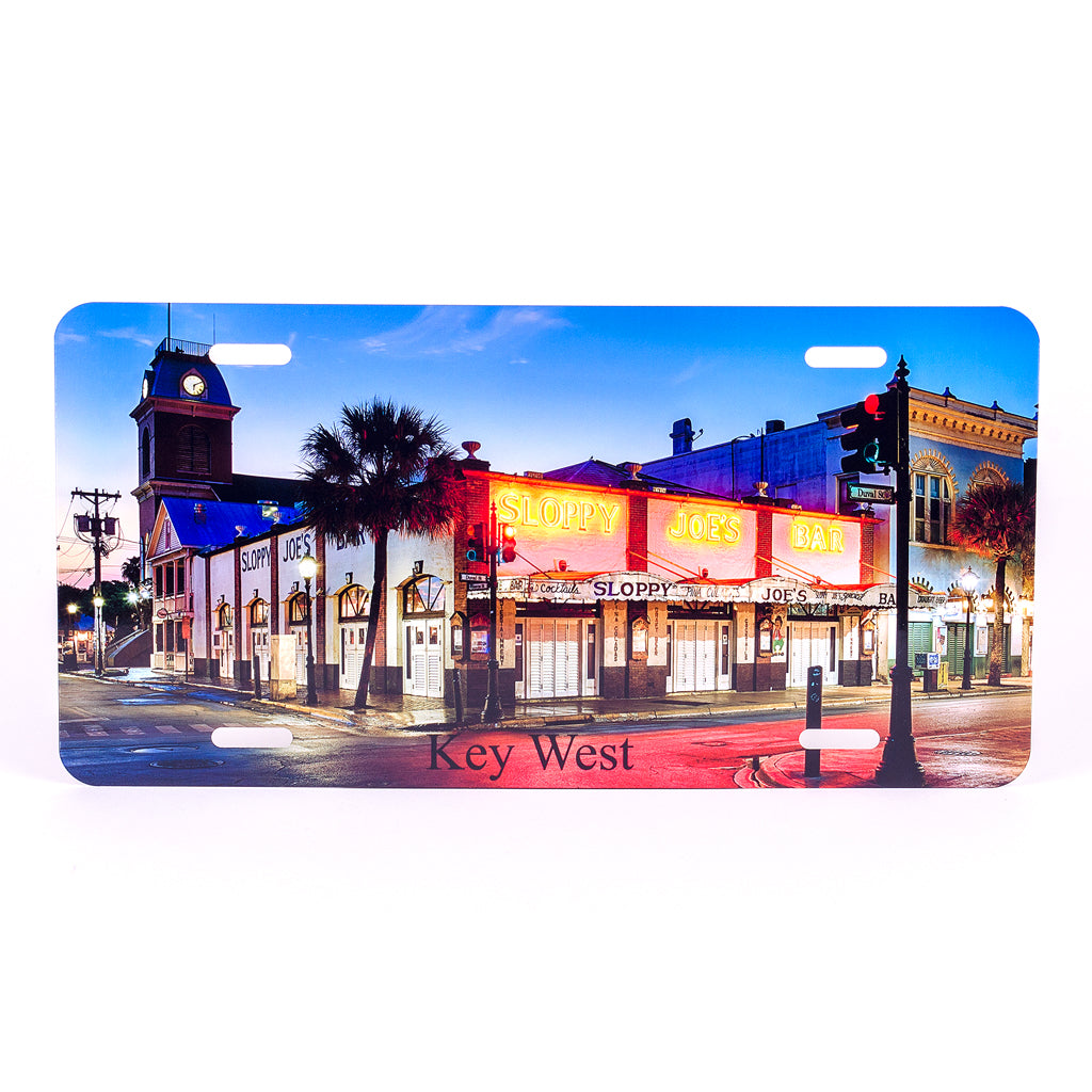Glossy Aluminum License Plate for your car with Sloppy Joe's Bar in Key West early morning shot
