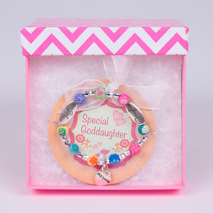 Toddler Granddaughter Clay Bracelet in Pink Gift Box