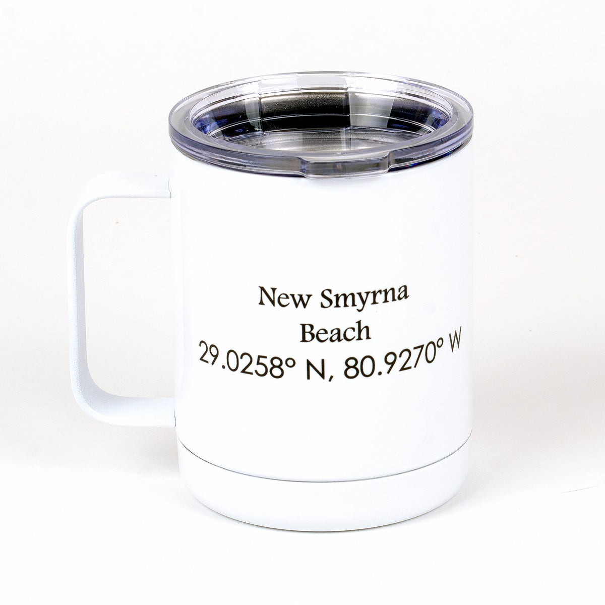 13 ounces stainless steel (white) Flagler mug side with New Smyrna Beach with lat and long