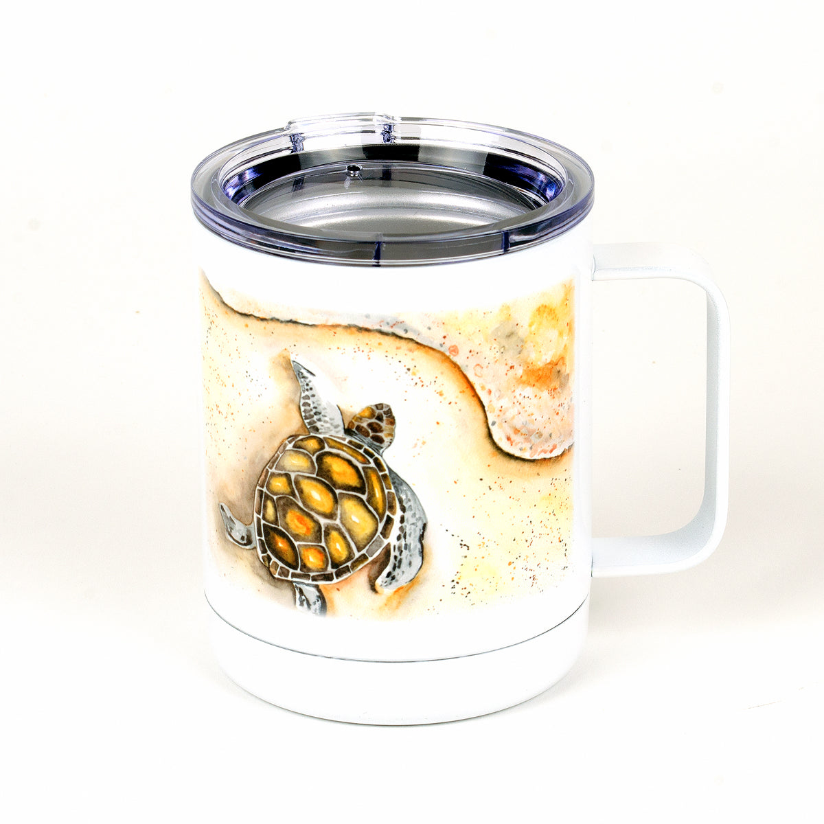 13 ounces stainless steel (white) Sea Turtle mug side with New Smyrna Beach with lat and long