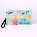 Large Polyester Linen Zip Pouch (When life gives you lemons go to the beach)