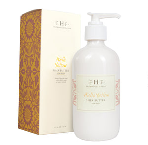 Shea Butter body lotion-hello yellow (8 ounces) vanilla and citrus oils in glass jar with pump