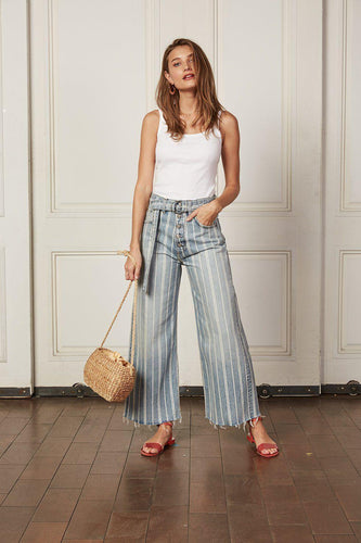 Boyish The Charley Wide Leg - They Made Me A Criminal Flare Jeans 25 Light Wash Stripe