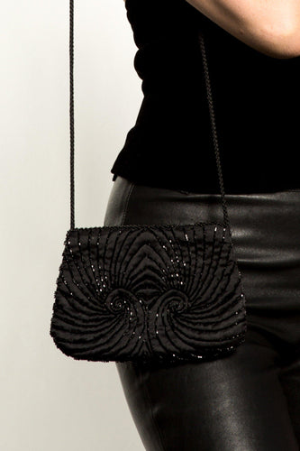 BUHO-Vintage Black Beaded Shoulder Bag-BUHO