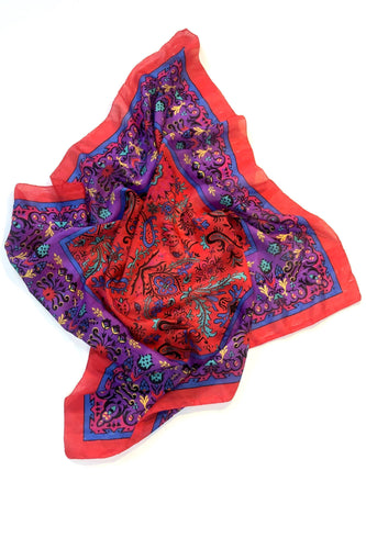 BUHO Vintage Floral Paisley Silk Scarf Scarves
