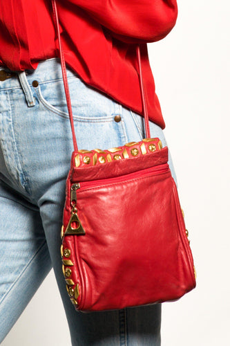 BUHO-Vintage Red Leather Crossbody-Red-BUHO