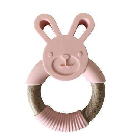 Chewable Charm Bunny Silicone and Wood Teether Accessories OS Peony Pink