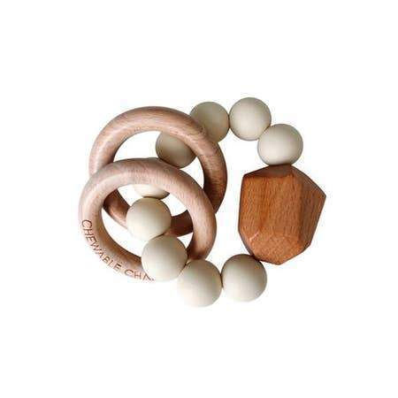Chewable Charm Hayes Silicone + Wood Teether Ring Accessories OS Cream