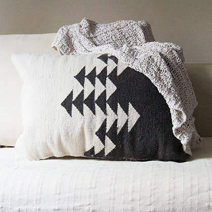 Kiliim Directions Pillow Cover Wool Pillow Covers 18 x 18 in Black & White