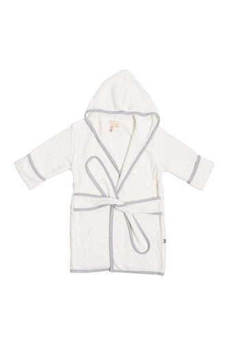 Kyte Baby Bath Robe in Cloud with Storm Trim Robes