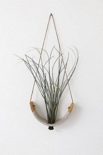 Mudpuppy Hanging Ceramic Air Plant Cradle - Gloss White Speckled Buff Planters