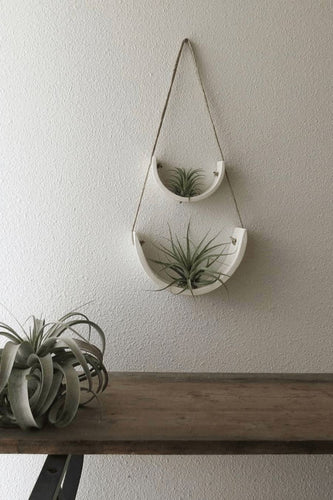 Mudpuppy Small Hanging Air Plant Cradle - White Earthenware Planters