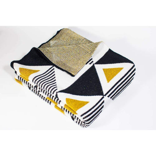 Seek & Swoon Baby Envie Throw Throws Black White Gold 30in x 40in