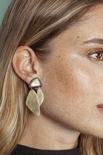 Makena Mixed Material Statement Earrings