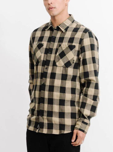Thrills Overdyed Sesame Check Long Sleeve Shirt Casual Shirt