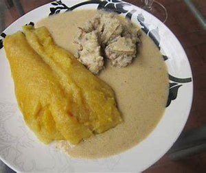 Grated Kouakoukou or Macabo with white sauce