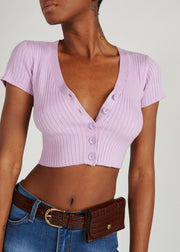 CARA BUTTON UP RIB KNIT CROP TOP, LAVENDER
