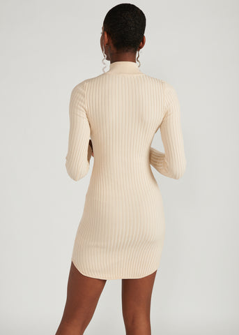 ZAHARA TURTLENECK RIBBED KNIT MINI DRESS, IVORY