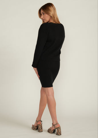 CARINA CARDIGAN & SWEATER DRESS SET, BLACK