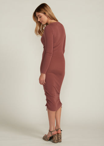 KATIYA DRAWSTRING SWEATER KINT DRESS, MARSALA