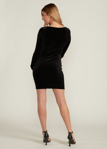 TARISSA SQUARE NECK VELOUR DRESS, BLACK