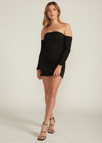 EZRA RUCHED OFF SHOULDER MINI DRESS, BLACK