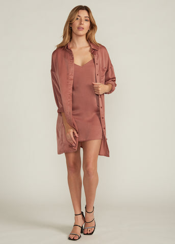 ARTEMESIA SATIN SHIRT & SLIP DRESS SET, MAUVE