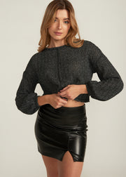 MELI RAW EDGE PUFF SLEEVE CROP SWEATER, CHARCOAL