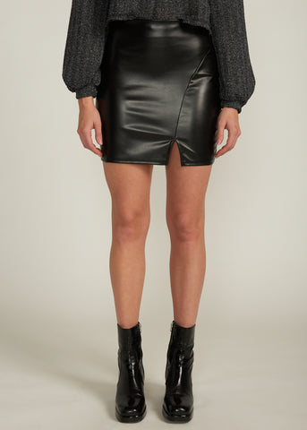 MILEY SIDE SLIT VEGAN LEATHER MINI SKIRT, BLACK