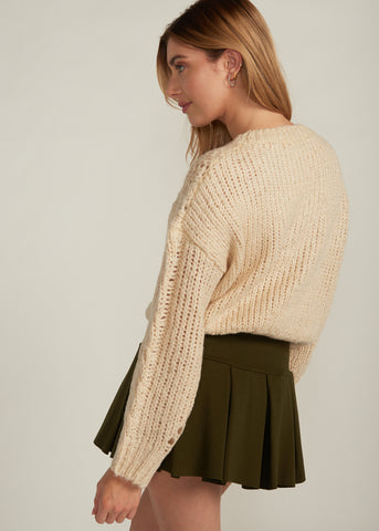 LAINA OVERSIZED CROP SWEATER, CREAM
