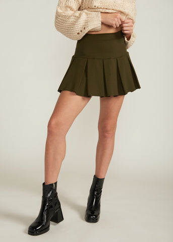 SPENCER TENNIS SKIRT, OLIVE