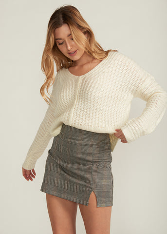 TERRI V-NECK SIDE SLIT SWEATER, IVORY